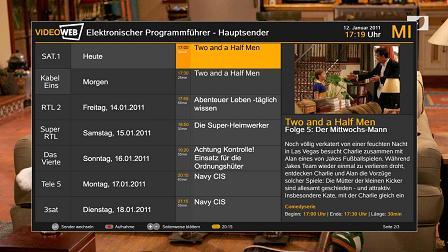 Der internetbasierte Programmführer VideoWeb Hybrid EPG liefert ausführliche Informationen zu TV-Sendungen und Filmen.